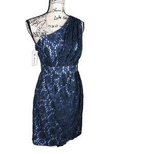 Shoshanna Black Lace One Shoulder Dress NWT 10